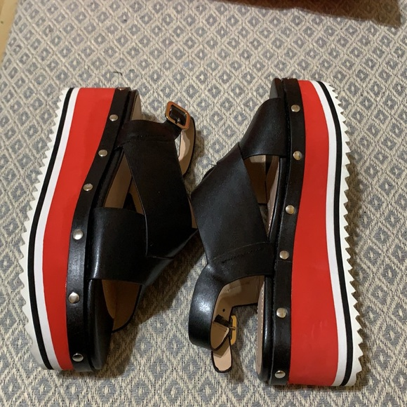 Zara Red and Black platform sandals